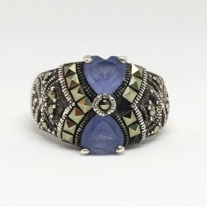Blue Glass Heart Marcasite Sterling Silver Ring